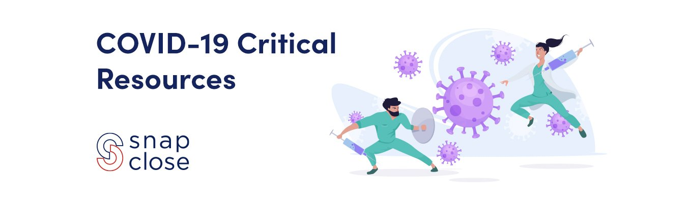 COVID-19 Resources banner with animation of virus